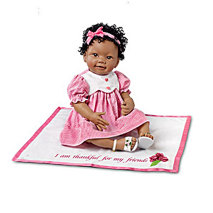 African-American Lifelike Baby Doll With Musical Blanket