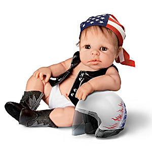 "Sherry Rawn ""Born To Ride"" Miniature Biker Baby Doll"