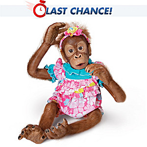 "Poseable ""Lollie"" Orangutan Child Doll By Simon Laurens"