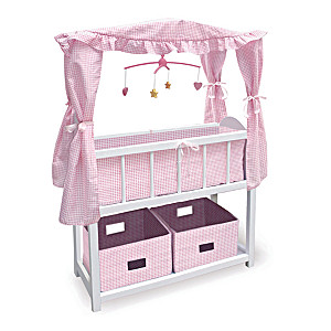 """Wood Crib With Baskets And Musical Mobile For 22"""" Dolls"""