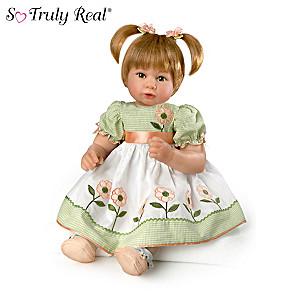Huggable, Lifelike Baby Girl Doll In Embroidered Dress