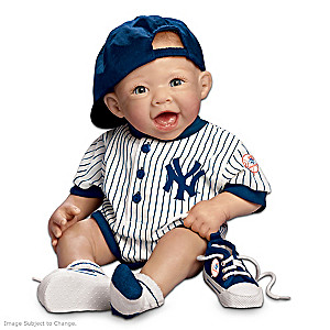 Lifelike Yankees Baby Boy Doll In Team Outfit