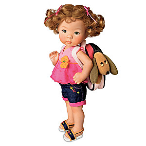 Porcelain Toddler Girl Doll With Backpack And Plush Puppy