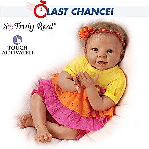 Lifelike Interactive Baby Doll Giggles At Your Touch
