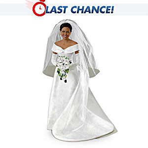 Michelle Obama Commemorative Porcelain Poseable Bride Doll