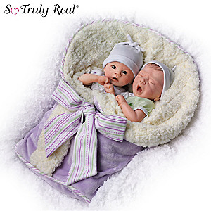 "Donna Lee ""Addison And Aiden"" Poseable Twin Baby Doll Set"