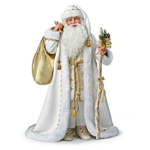 Illuminated White Christmas Santa Doll With Music
