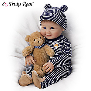 "Sherry Miller ""Momma's Little Cub"" Baby Doll With Teddy Bear"