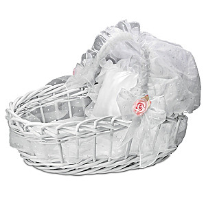"""Sweet Slumber"" White Wicker Basket With Retractable Hood"