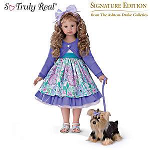 "Angela Sutter ""Leah And Sadie"" Child Doll And Plush Dog Set"