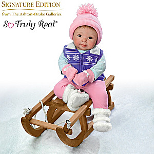 """Sherry Rawn """"Becky's Just Chillin'"""" Baby Doll With Sled"""