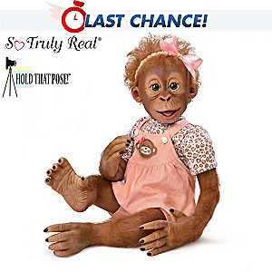 """Hold That Pose """"Momoko"""" Baby Monkey Doll by Ina Volprich"""