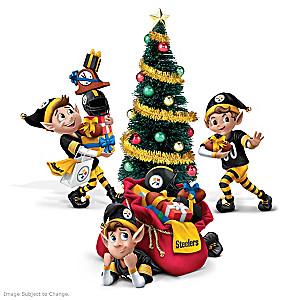 Pittsburgh Steelers NFL Elves Christmas Figure Set