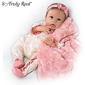 Linda Murray Megan Rose Weighted Girl Baby Doll With Blanket