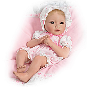 """Phoebe"" Bisque Porcelain Baby Doll With Flannel Blanket"