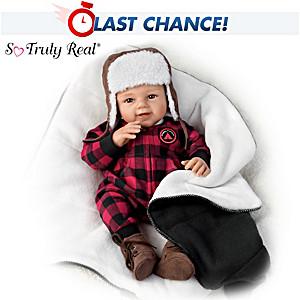 "Sherry Rawn ""Happy Camper"" Baby Boy Doll With Blanket"
