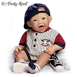 Lifelike Baby Boy Doll In Baseball Outfit